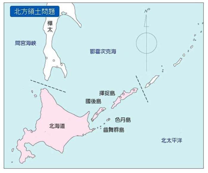 北海道上方,領土爭議的四個島跟樺太。 資料來源/日本外交部官方