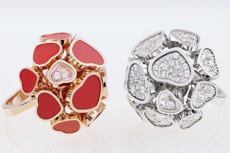 Happy Hearts系列球型戒指,18K玫瑰金,分別鑲嵌珊瑚紅(左)和珍珠母...