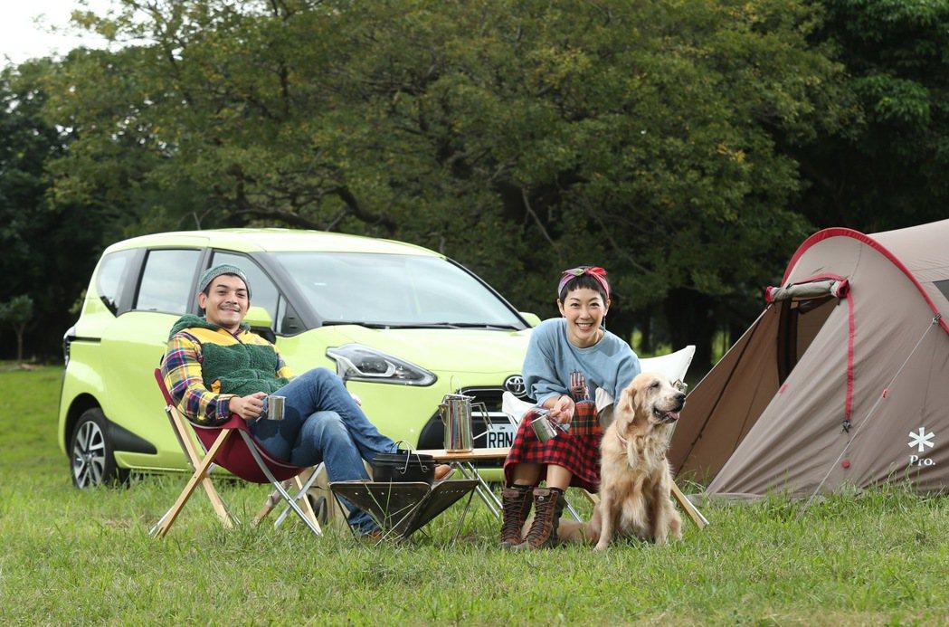 「雞史夫妻」藝人Gigi林如琦與史丹利體驗都市露營樂趣。 記者林澔一/攝影