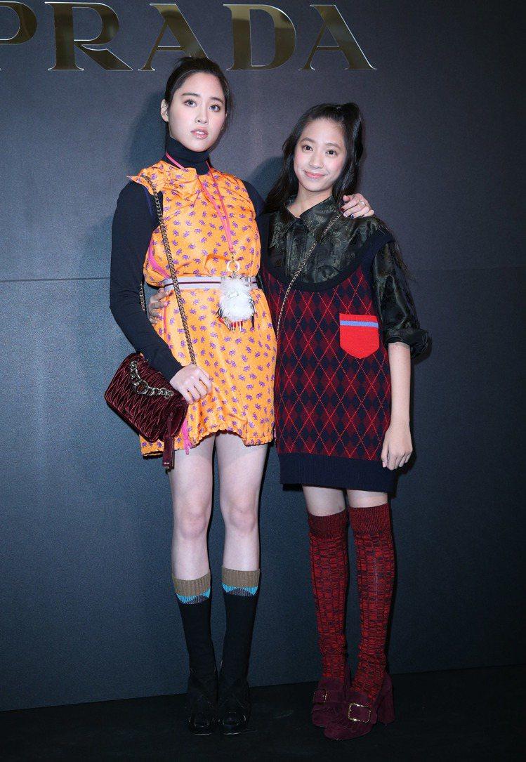 歐陽妮妮、娣娣昨天出席PRADA年終慈善派對。記者陳瑞源/攝影