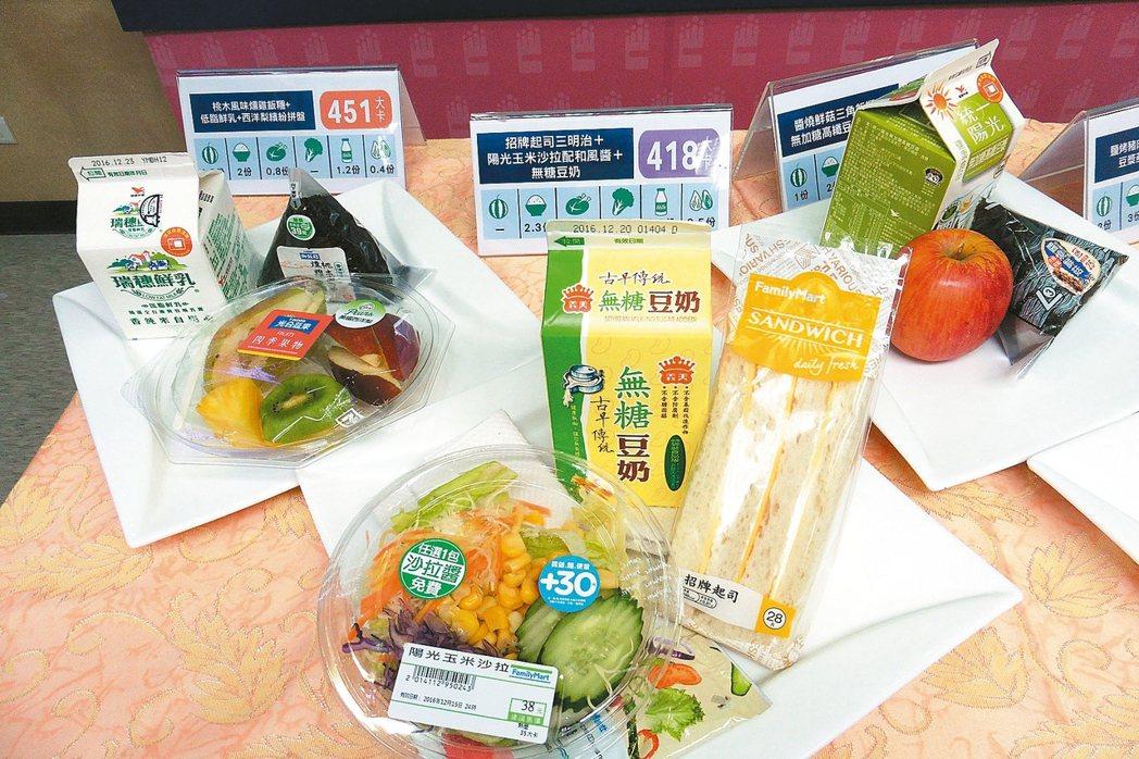 超商推出健康早餐組合,如三明治、飯糰搭配沙拉、低脂鮮奶、豆漿等。 記者黃安琪/攝...