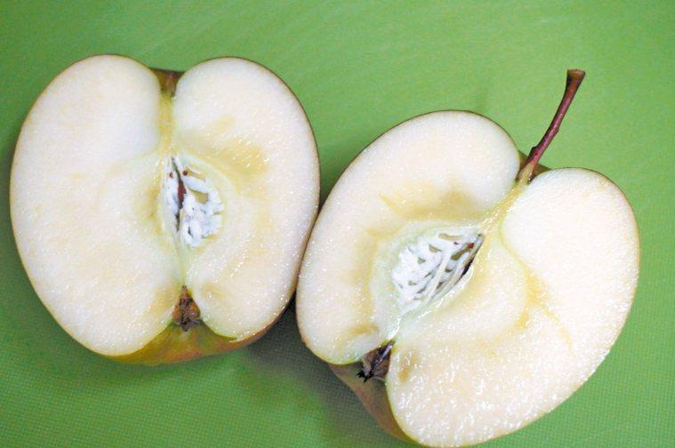 蜜蘋果好吃的秘訣,在於果核四周「水浸狀」的蜜腺。 記者洪敬浤/攝影 報系資料照