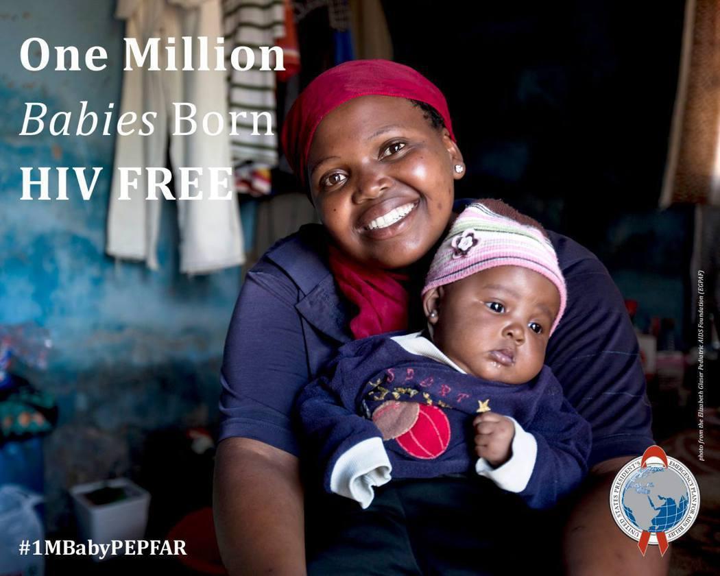 PEPFAR長期在非洲投入預防愛滋的工作。圖為組織在10周年時,宣告「母嬰愛滋傳...
