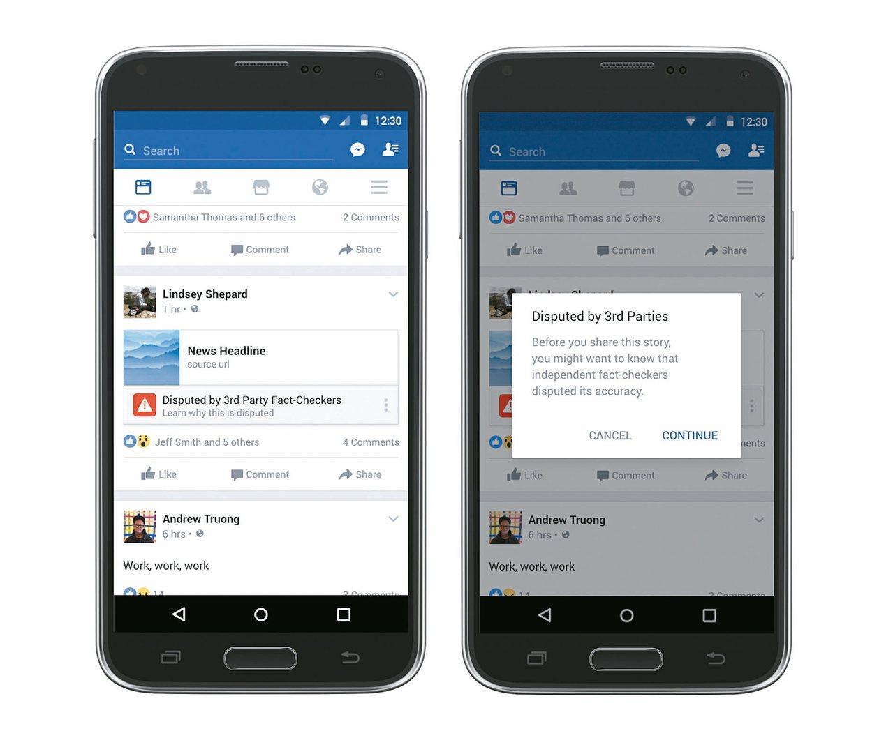 臉書上不符合查核標準的新聞會被標注紅色標籤(左),用戶若仍想分享這則新聞,會再度...