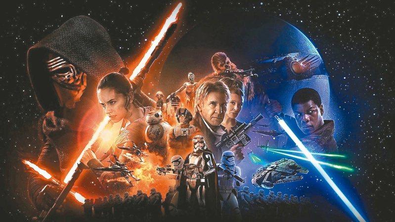 星際大戰本傳電影最新作「Star Wars:原力覺醒」去年大破紀錄,全球影史票房僅次於「阿凡達」、「鐵達尼號」。 圖/博偉提供