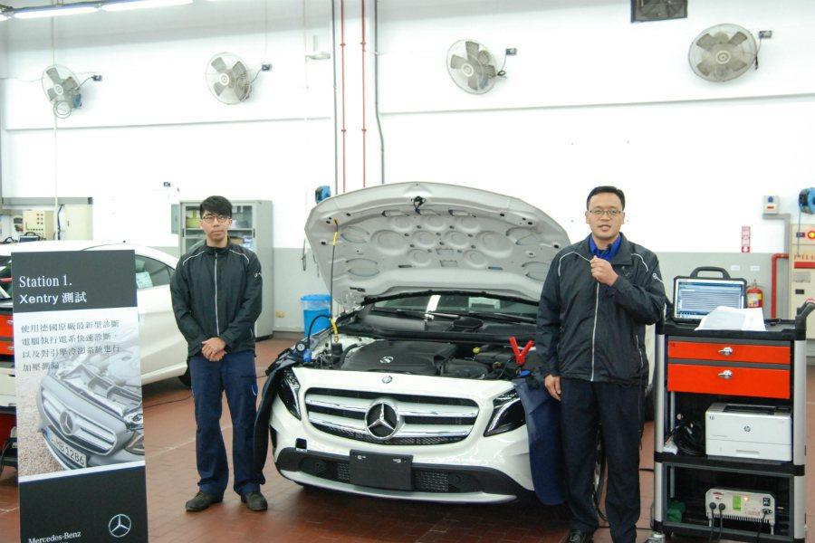 台灣賓士的新車整備流程第一關為電腦快速診斷,並對引擎、冷卻系統進行測漏。 記者林...