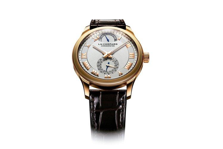 蕭邦L.U.C系列Quattro手上鍊腕表,限量250只,84萬6,000元。圖...