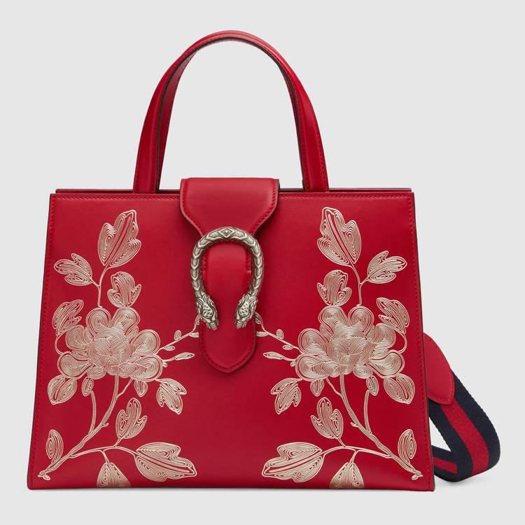 GUCCI中國年紀念包,裝飾牡丹刺繡和雙頭蛇馬銜鍊。圖/GUCCI提供