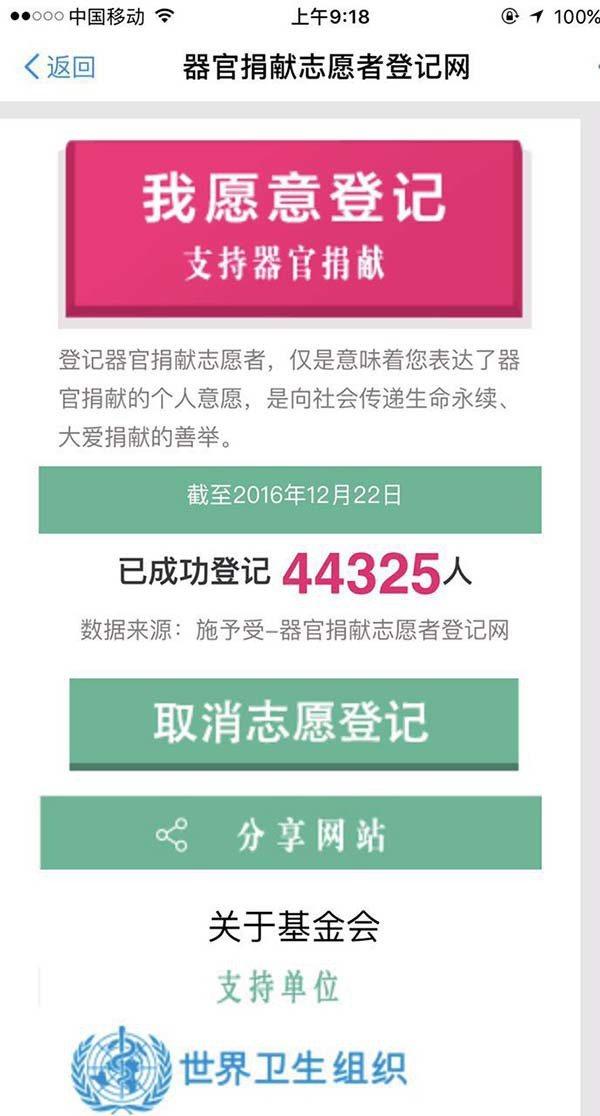 擁有4.5億實名用戶的支付寶今天宣佈上線「器官捐贈登記」功能。取自澎湃新聞網