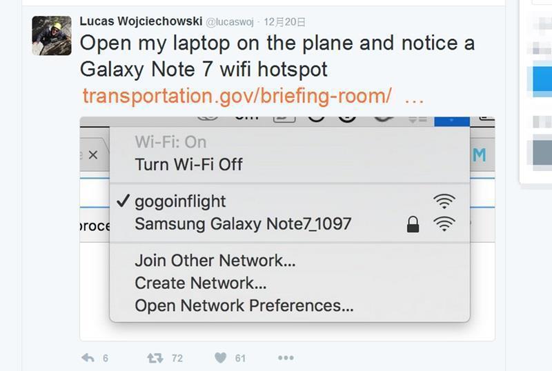 美國1架班機差點迫降,只因乘客將無線裝置名稱改成三星Galaxy Note 7。...