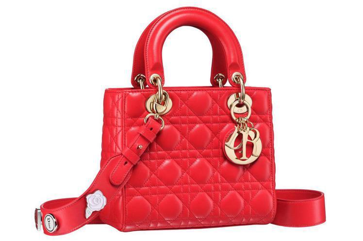 延伸自Lady Dior包款的My Lady Dior裝飾多款幸運徽章的可拆式肩...