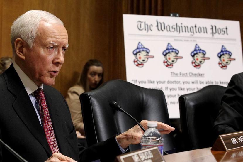 美國共和黨海契(Orrin Hatch)引用《華盛頓郵報》對歐巴馬團隊的事實查核...