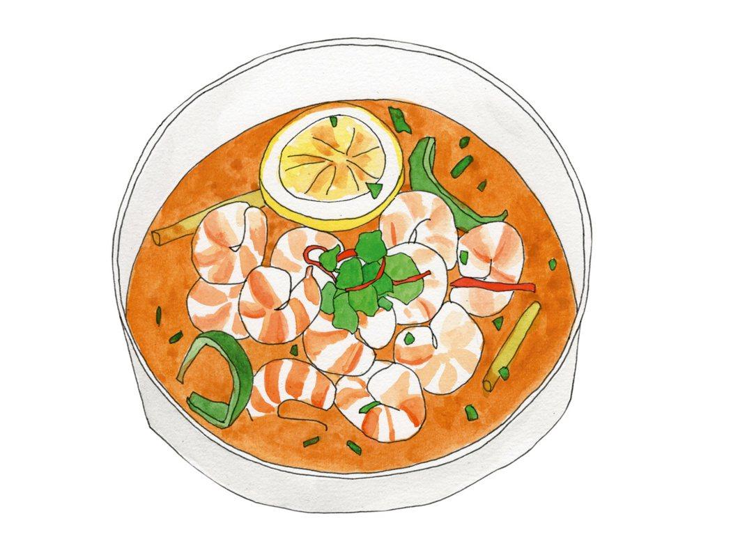 謝佳見最愛的酸辣蝦,蝦肉鮮美多汁,味道酸酸辣辣,嘗到嘴裡的味道卻苦澀難耐。 圖/...