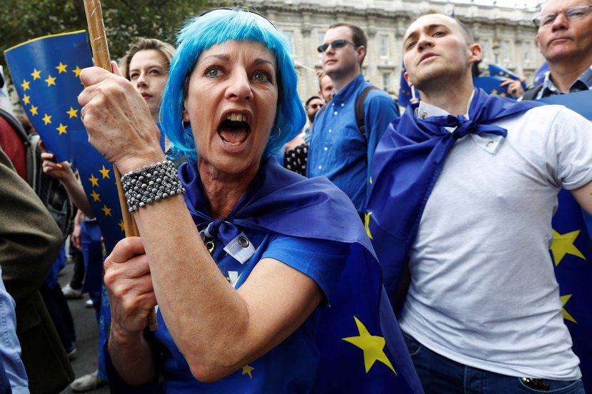 吵鬧許久的脫歐,在2016年畫下句點前,到底進展如何了?圖為反脫歐人士在7月份接...