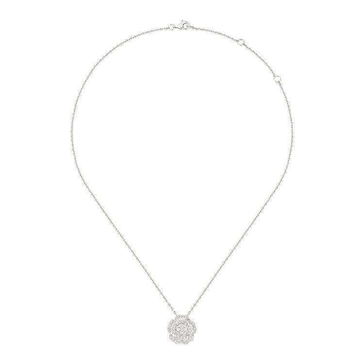 Bouton de Camélia 項鍊,18K白金,鑲嵌41顆總重0.34克拉...