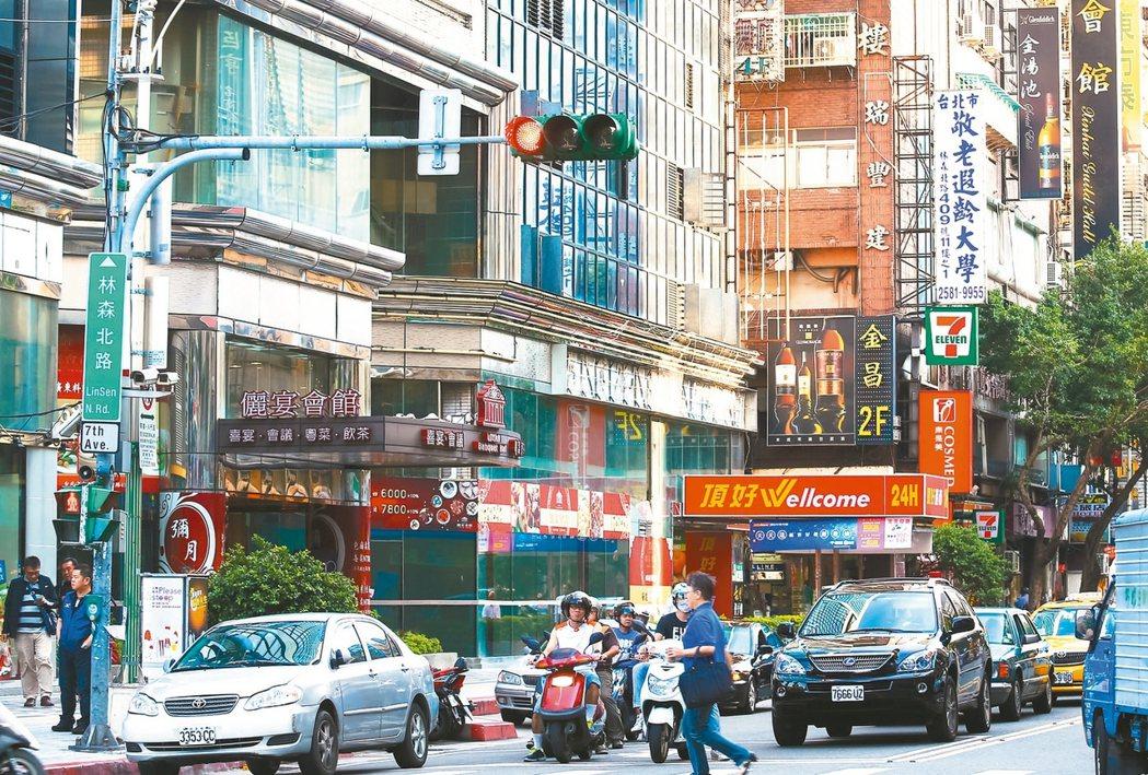 去年台北市店面交易,林森北路最熱門。圖為林森北路周邊。 報系資料照