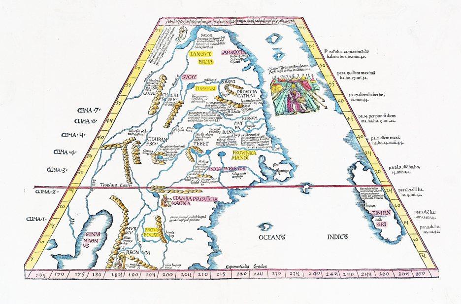1522年首次刊印的亞洲地圖,依照《馬可波羅遊記》修訂而成,因此右下角出現,馬可...