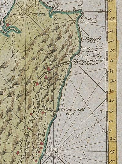 荷蘭人所繪的臺灣地圖,今花蓮市一帶繪有一條「黃金河」(Goud River)。圖...