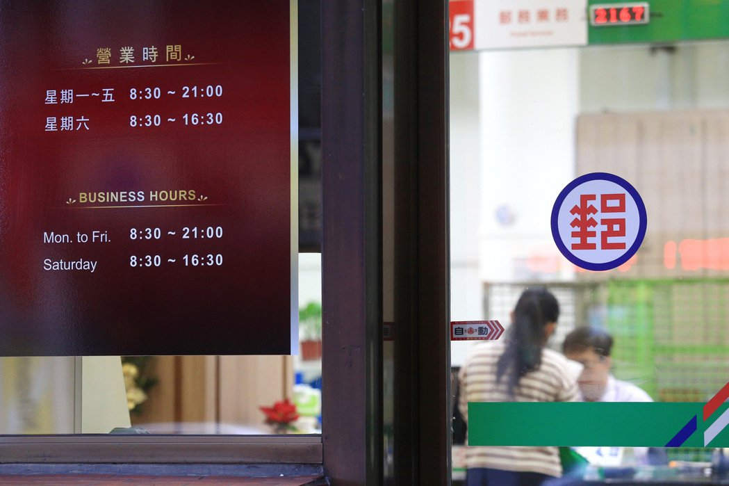 受到一例一休影響,中華郵政287家周六營業的郵局,規畫半數周六停止營業。圖為台北...