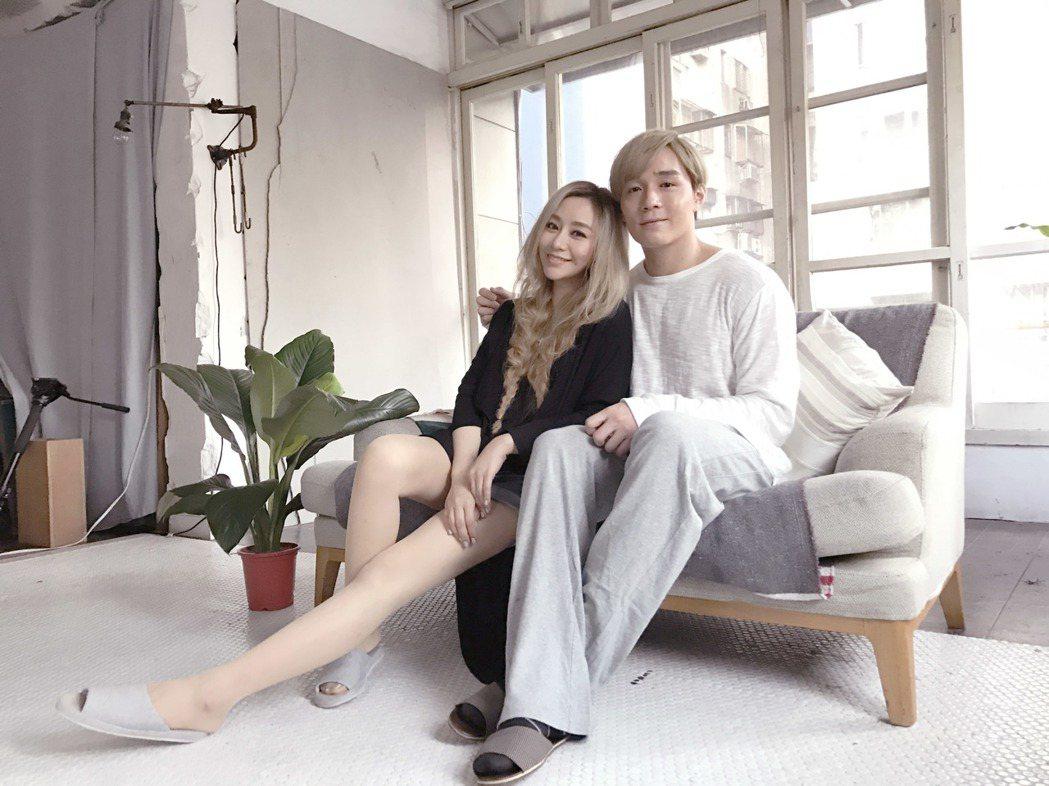 藍又時新歌「天亮說晚安」MV和猛男廖雷凱合作,老公直說不吃醋。圖/泡耳音樂提供