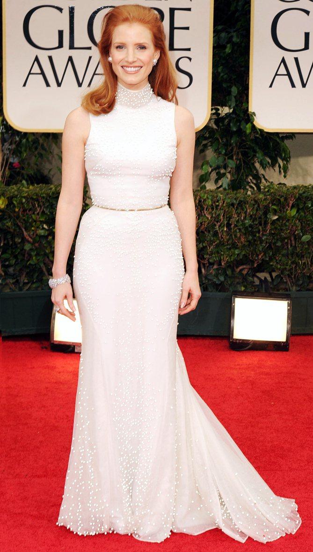 潔西卡崔絲坦2012年出席金球獎。圖╱摘自People