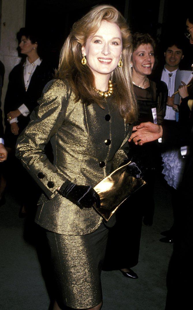 梅莉史翠普1989年出席金球獎。圖╱摘自People