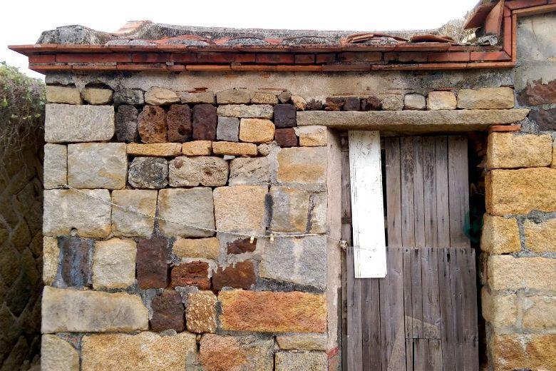 老阿嬤老厝旁的小空間便是傳統閩南式建築的「頹屋」,門口早已用木板封死,受限於私人土地的產權限制,只能任憑具有歷史性的古厝雜木叢生。 圖/作者提供