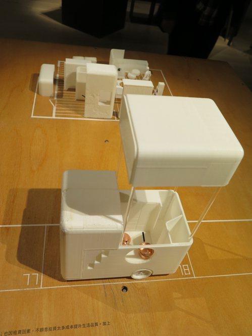 建築師陳右昇等人設計的移動式核心住宅,可裝上車輪拖走。記者何定照/攝影