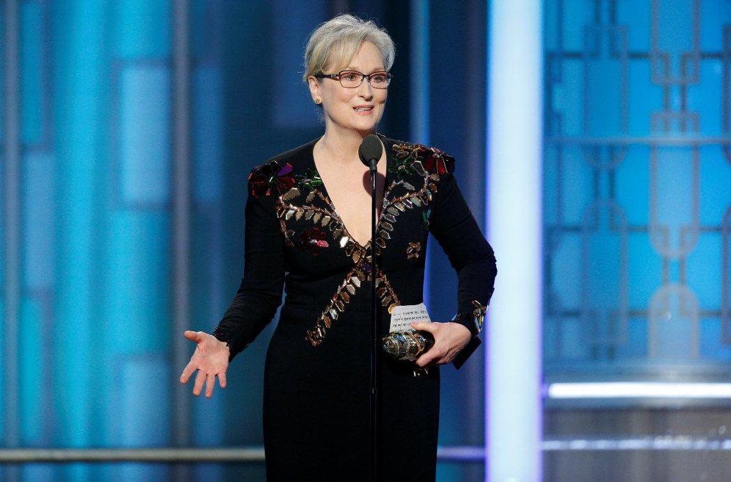 梅莉史翠普獲頒金球獎終身成就獎,她在典禮上公開呼籲「反霸凌」,也批評川普。圖/路...