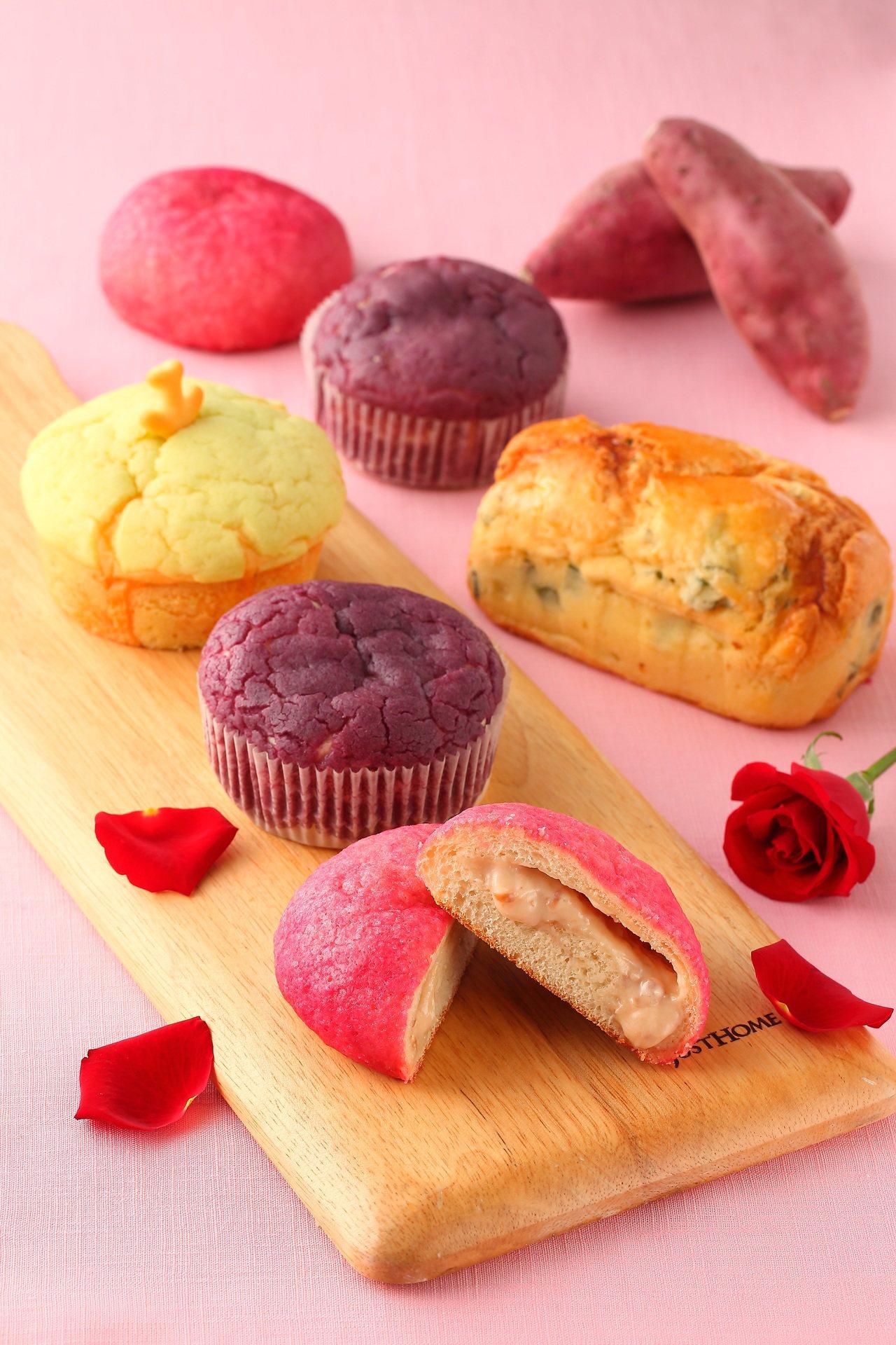 岩島成專業烘培坊打造「玫瑰之戀」、「紫薯黑糖菠蘿」等一系列菠蘿麵包新產品。圖/岩...
