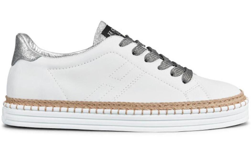 REBEL撞色繫帶草編休閒鞋,售價15,600元。圖/HOGAN提供