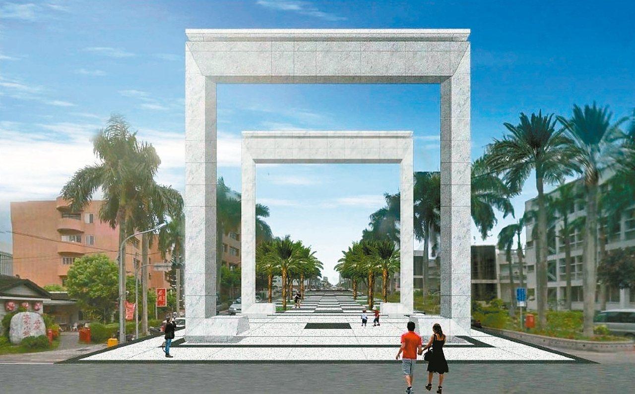 日出觀光香榭大道將從明義國小前的「東昇門」為起點,顧問公司設計白色雙重門框。 圖...