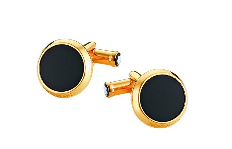萬寶龍Iconic系列金色圓形袖扣,建議售價$6,700。圖/萬寶龍提供