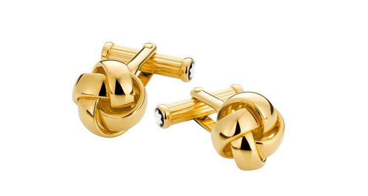 萬寶龍金色結狀袖扣,NT$10,100。圖/萬寶龍提供