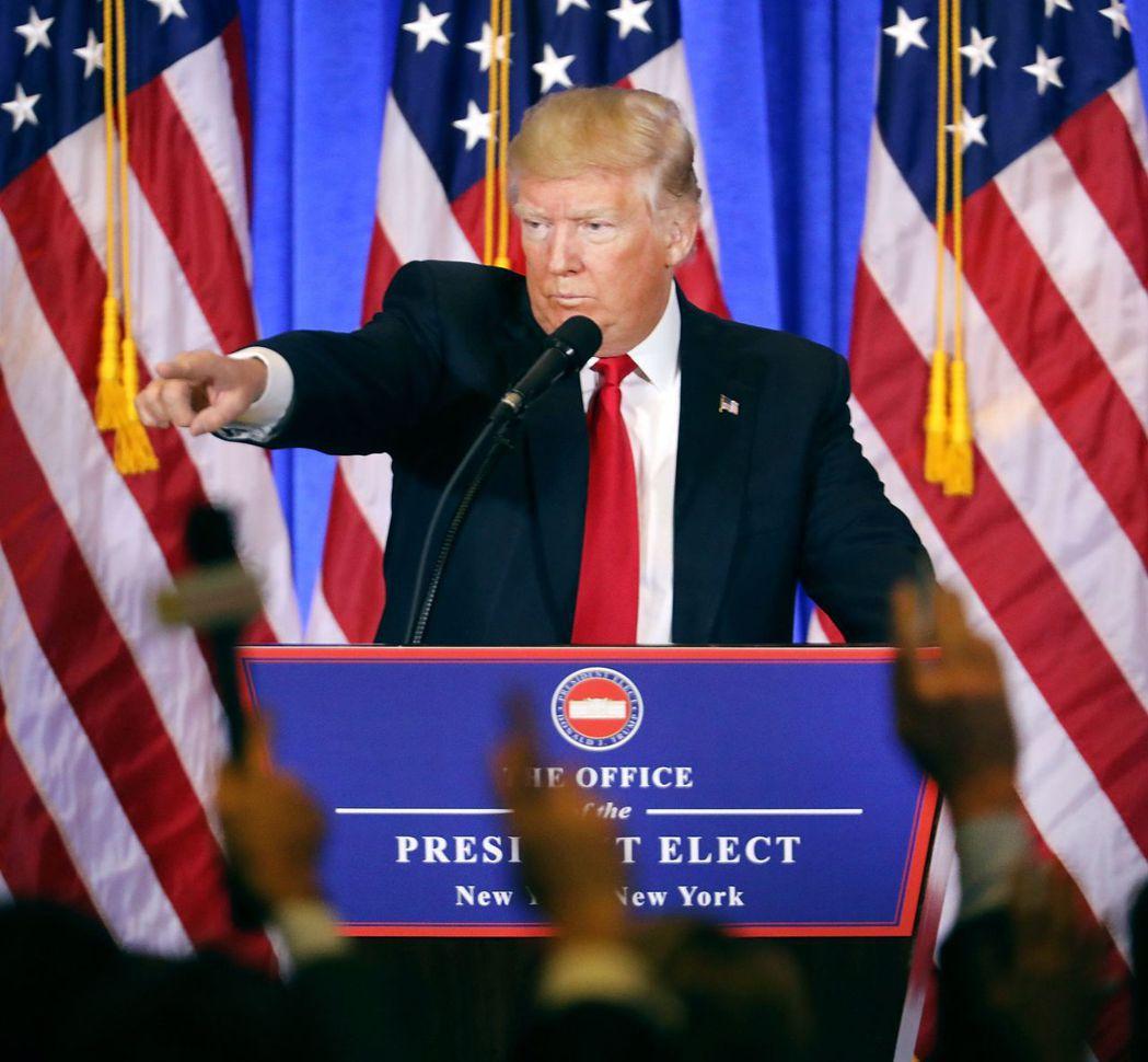 川普11日召開當選總統後首次記者會。(法新社)