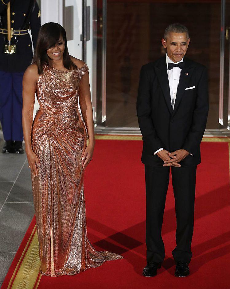 白宮設宴款待義大利總理Matteo Renzi夫婦時,蜜雪兒穿義大利精品Vers...