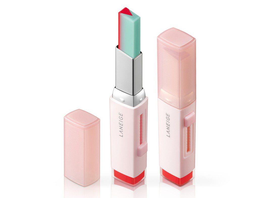 LANEIGE蘭芝超放電晶潤雙色唇膏#3香柚薄荷,售價850元。圖/蘭芝提供