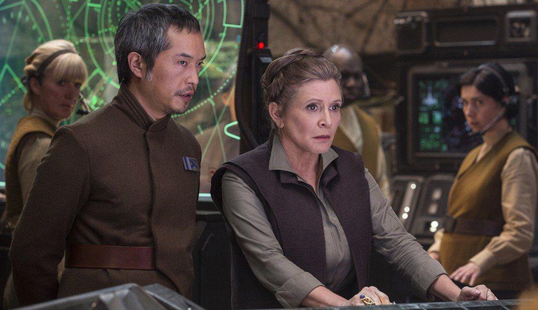 電影公司表示不會透過電腦特效重製,讓嘉莉費雪(中)出現在「星際大戰」續集中。圖/...