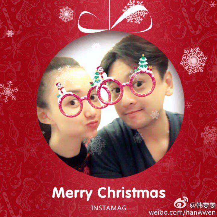 朱孝天、韓雯雯耶誕節時還製作搞笑賀卡。圖/摘自韓雯雯微博