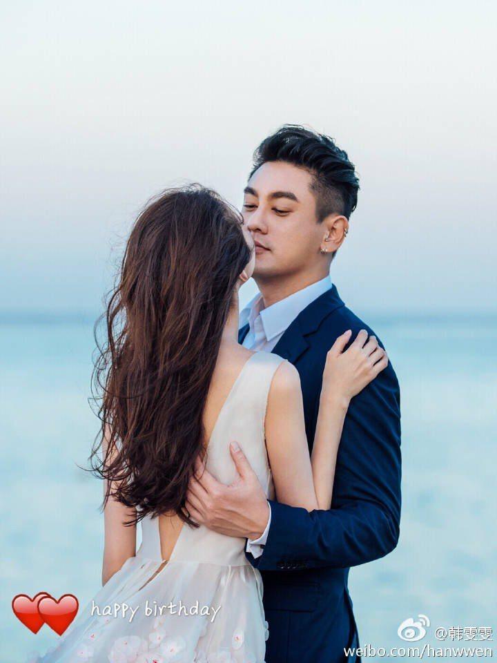朱?天丶韩雯雯去年在?里岛结婚,小俩口婚后幸?甜蜜。图/摘自韩雯雯微博