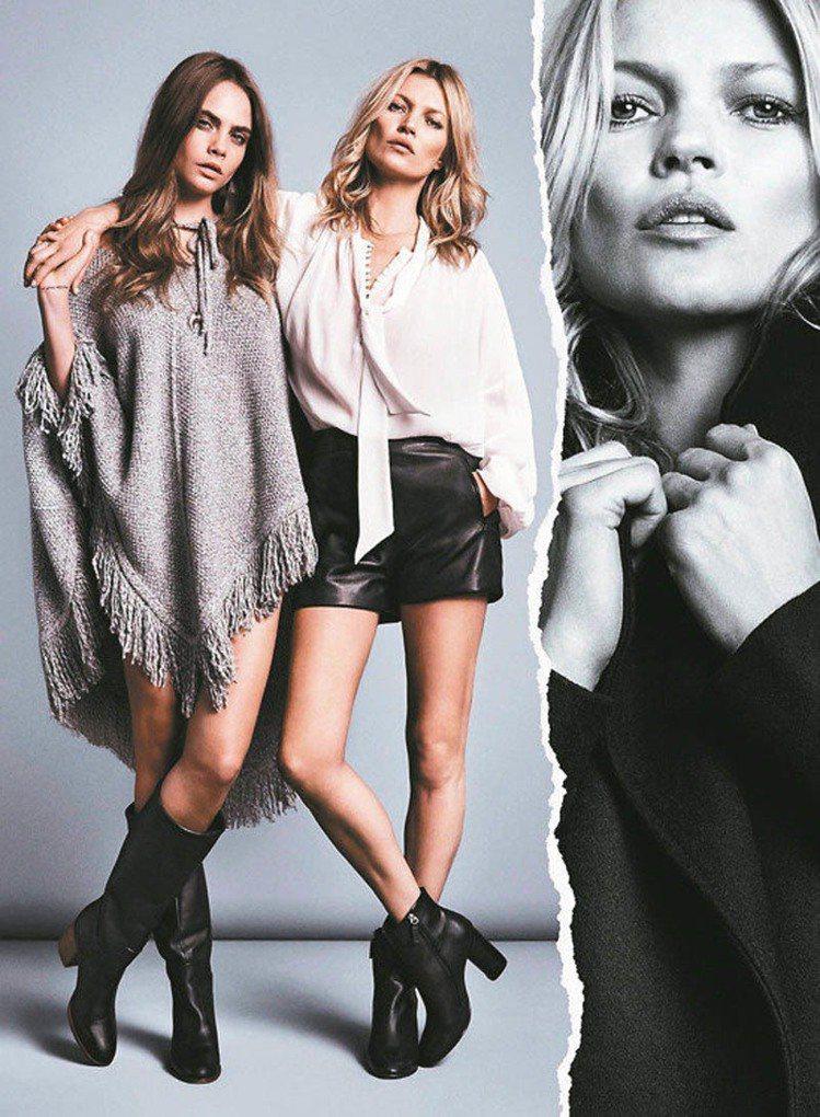 兩個世代的超模凱特摩絲(右)、卡拉迪樂芬妮曾一起合作拍廣告。圖/Mango提供