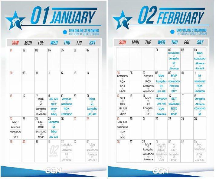 《英雄聯盟》LCK一、二月份賽程 圖/OGNglobal粉絲專頁