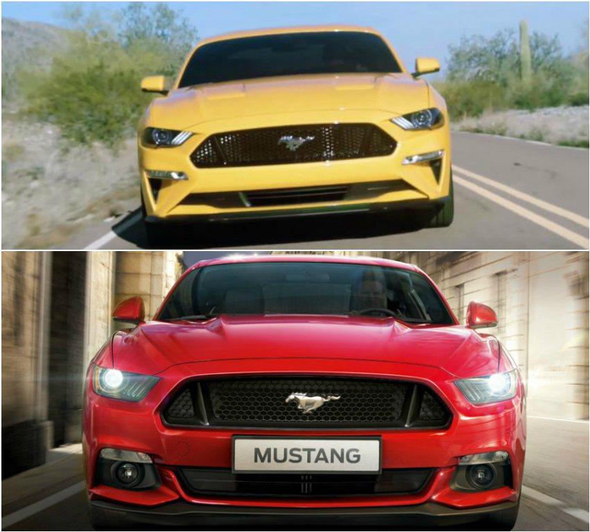影片流出的 18 年式野馬,在車頭視覺上較為低趴銳利。上圖為影片流出的小改款野馬車頭;下圖為 2017 年式 GT 車型。 摘自 Youtobe、Ford