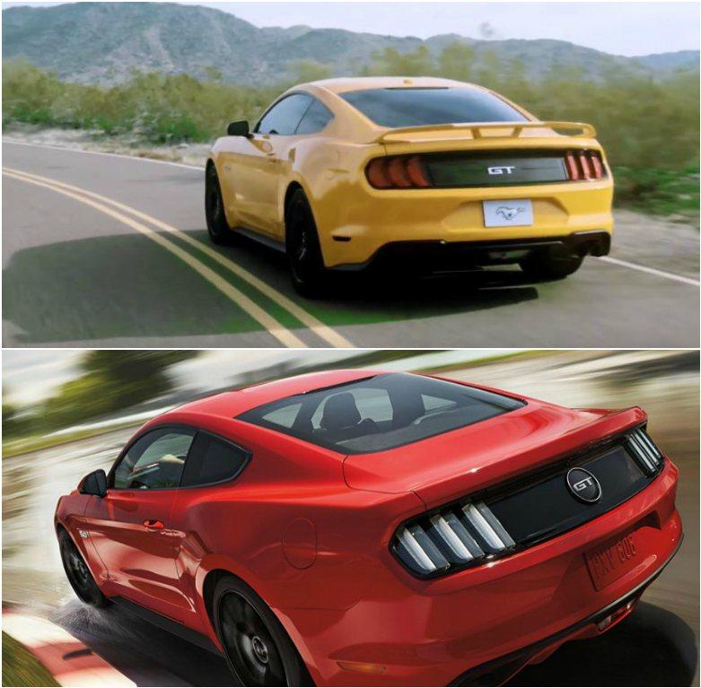 車尾依舊保留野馬精神,僅微幅修飾外觀線條。上圖為影片流出的小改款野馬車尾;下圖為 2017 年式 GT 車型, 摘自 Youtobe、Ford