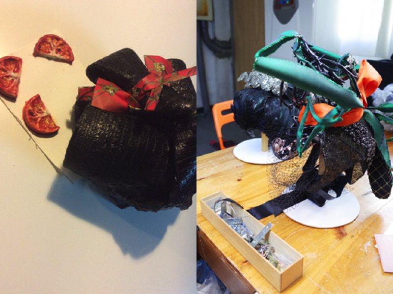 用日常物件組成的頭飾,可以達成快換效果卻不犧牲工藝細節,已成育昇可被辨識的設計招...
