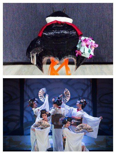 奇巧劇團《鞍馬天狗》舞伎蘭花網假頭套及實際配戴情況 李育昇提供