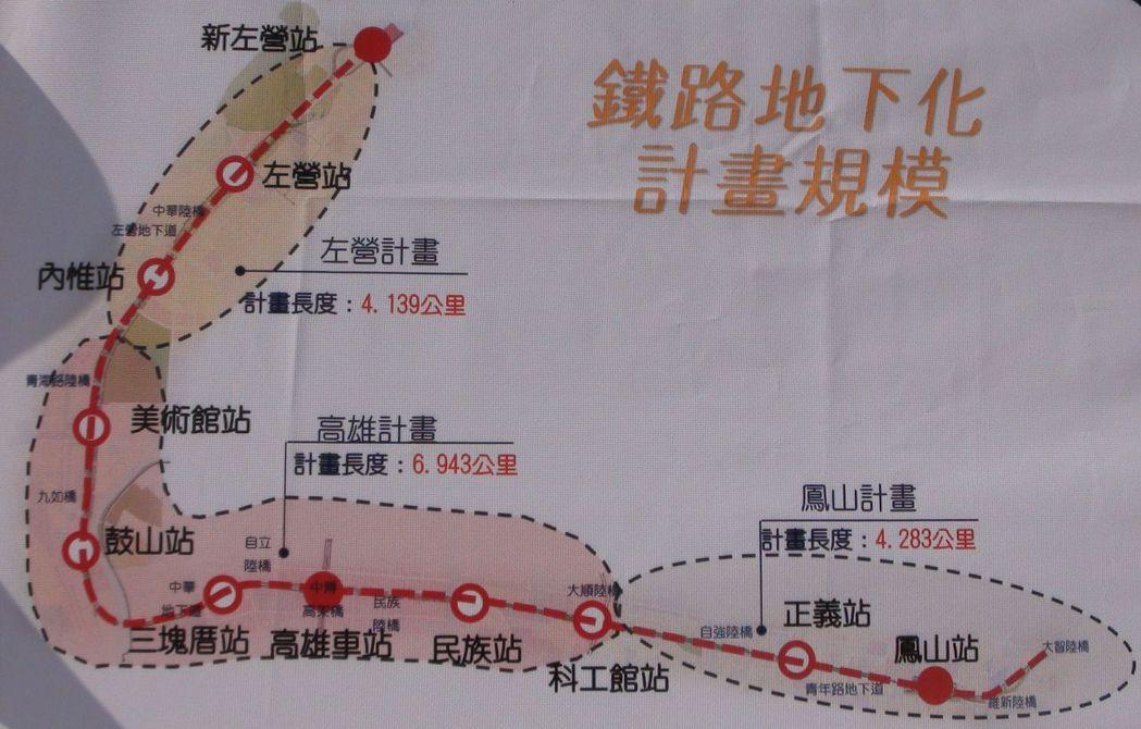 ?雄铁路?下化工程范围图示。图/?雄市政府提供