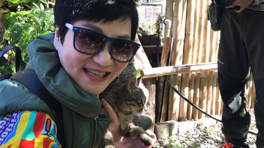 張小燕一把抱起不怕人的貓。記者葉君遠/攝影