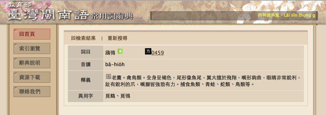 圖片來源/ 教育部台灣閩南語常用詞辭典