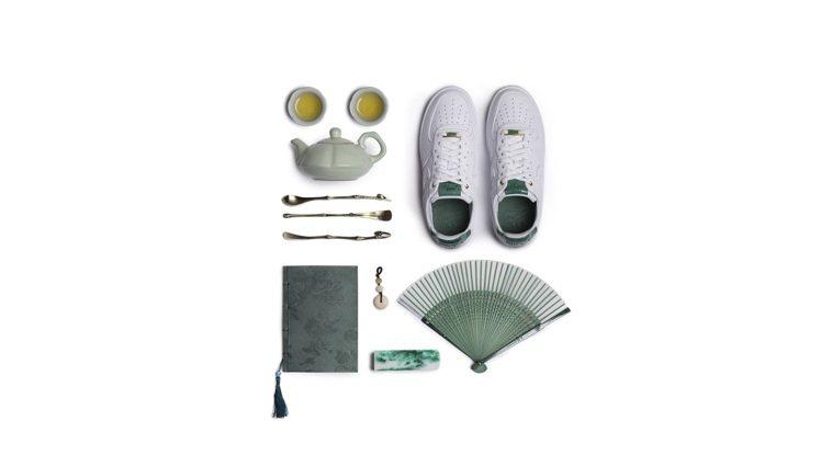 NIKE在中國年節檔期推出翠玉版的經典鞋款「Air Force 1」鞋。圖/NI...